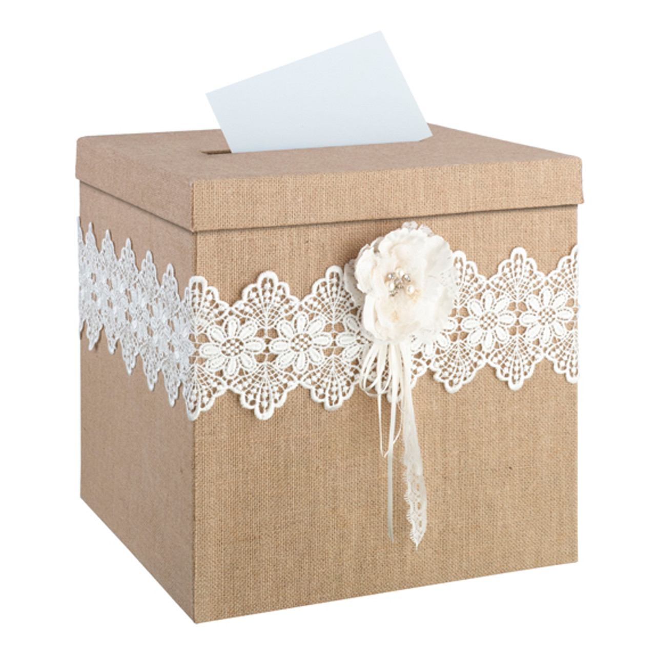 Rustic Wedding Card Box With Burlap And Lace Camokix