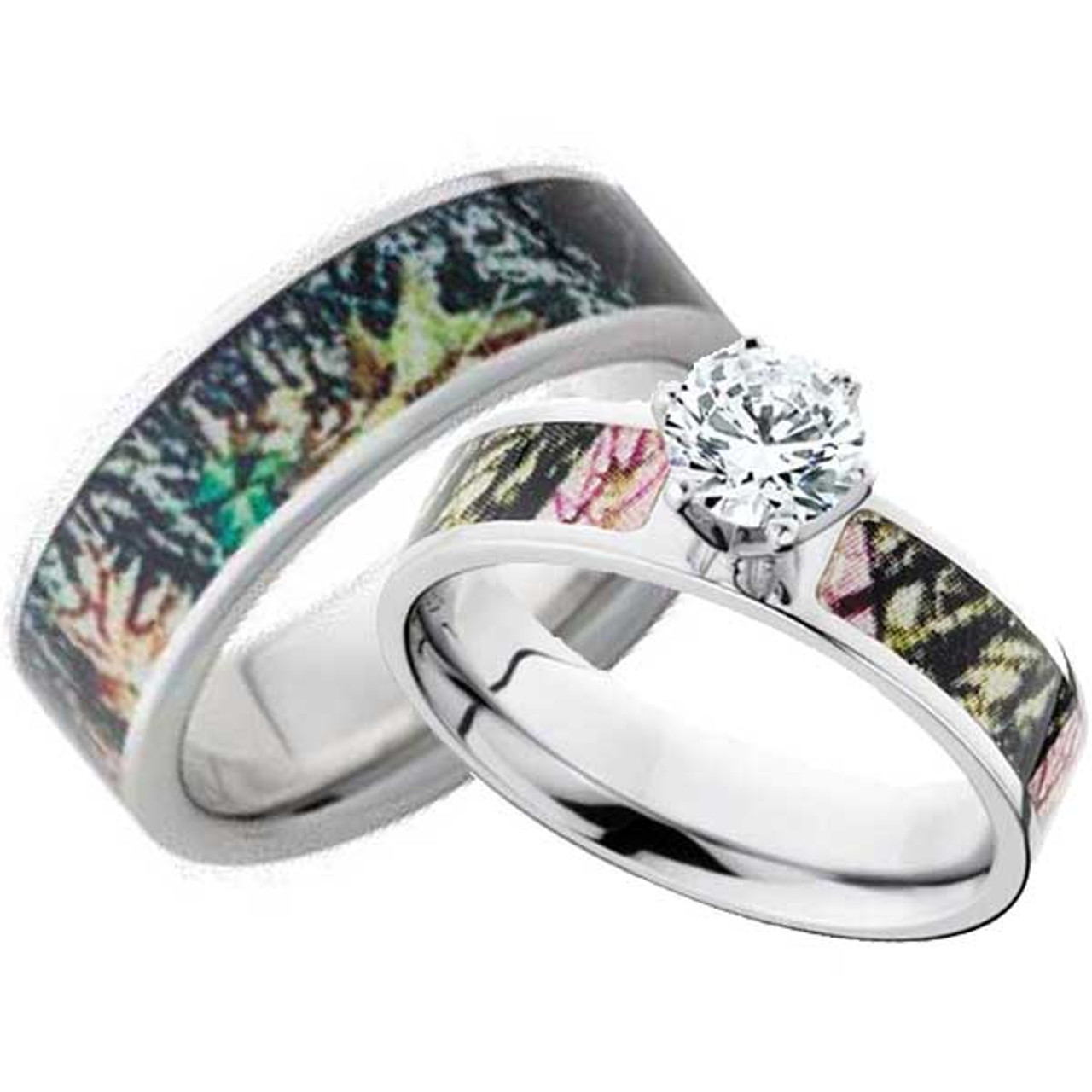 His And Hers Cz Camo Wedding Ring Set Free Shipping Camokix