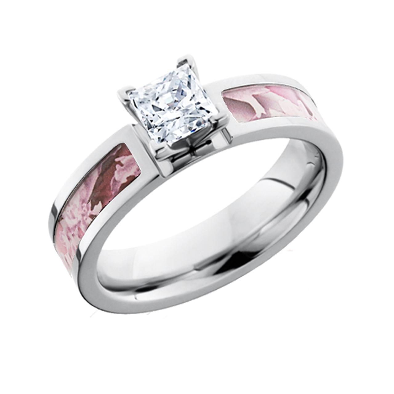 cb4482548 Pink Camo Princess Cut Diamond Engagement Ring | Free Shipping | CAMOKIX