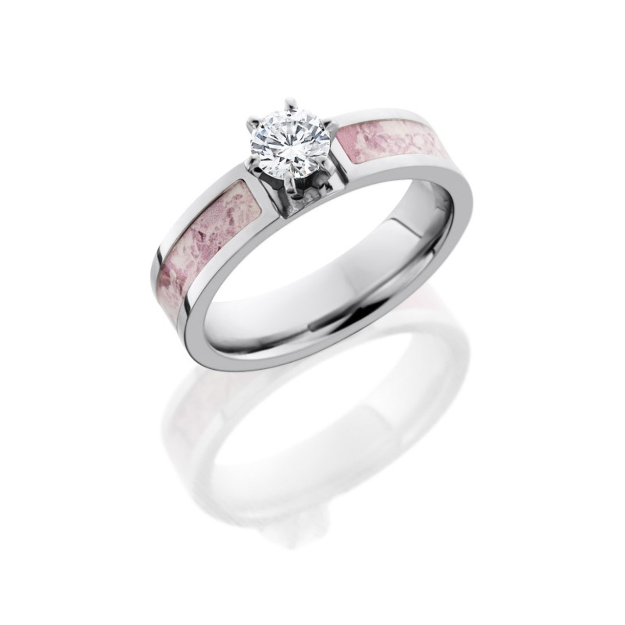 cee0fc54a Pink Camo Round Cut CZ Engagement Ring | Free Shipping | CAMOKIX