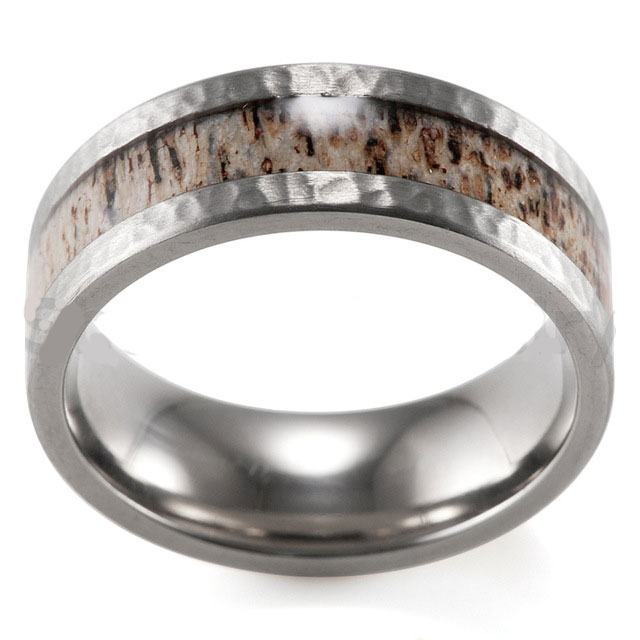 hammered titanium antler ring