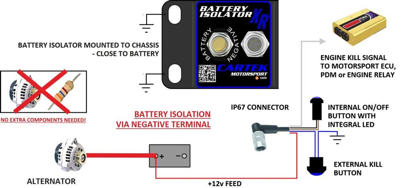 Cartek XR Battery Isolator Kit (Red External Button)