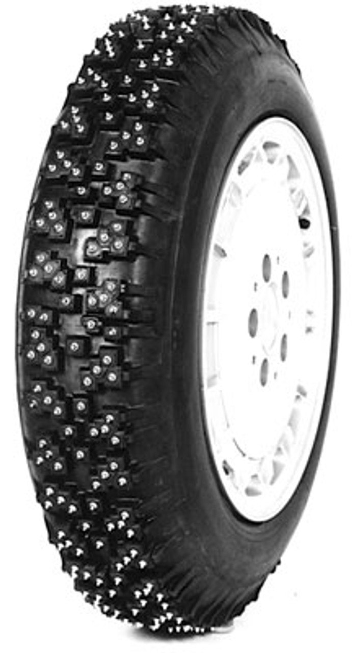 Tires are pictured with studs installed.