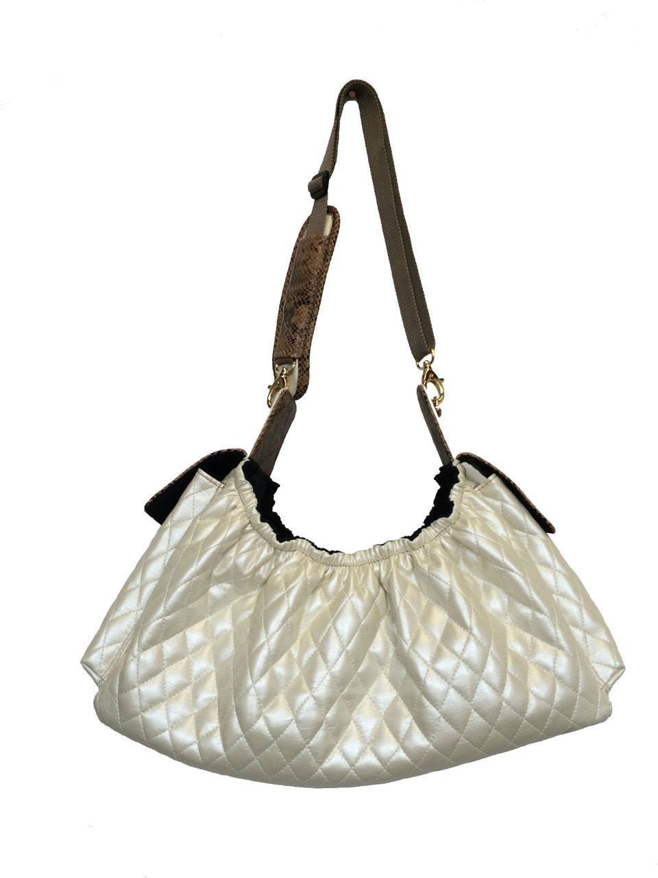 7438717909 Gigi Cross Body Sling Pet Carrier | Quilted Ivory - Puppy Kisses