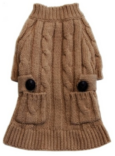 Cable Knit Dog Sweaterdress | Putty