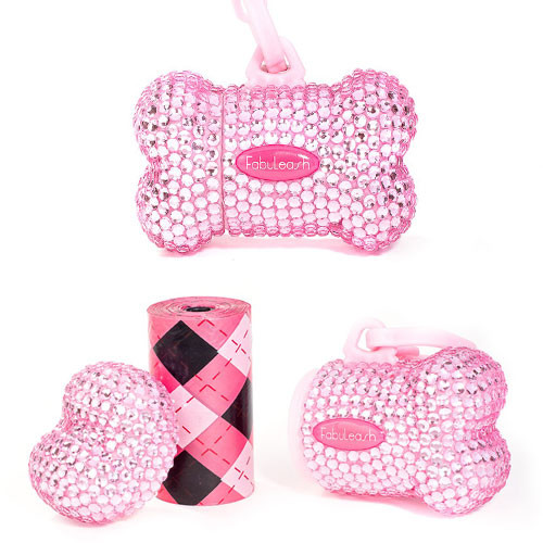 Bling Bone Bag Dispenser | Pink