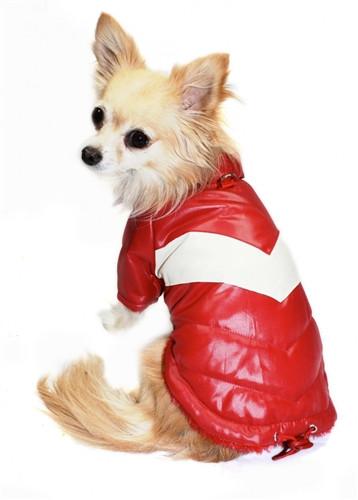 Puffy V Dog Coat | Red