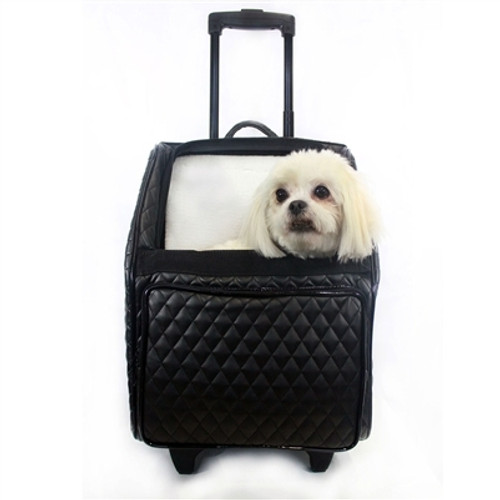 Quilted Lux Roller Pet Carrier | Black