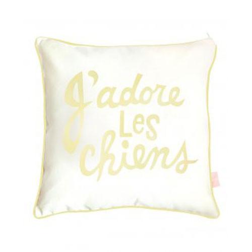 J'adore Les Chien Pillow Sham | Yellow