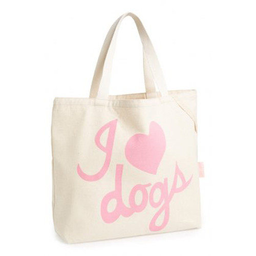Cotton Tote | I Love Dogs | Pink