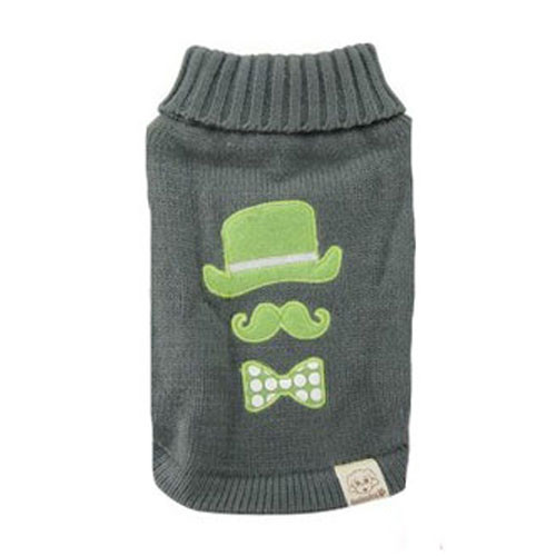 Mustache Dog Sweater | Green