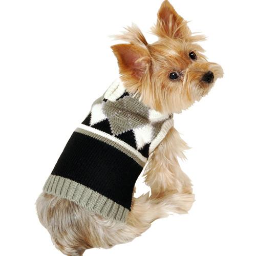 Argyle Zip Dog Sweater | Grey