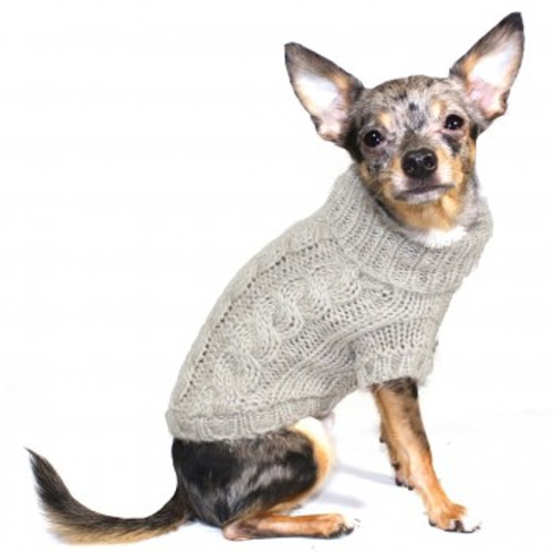 Cable Knit Dog Sweater | Sand