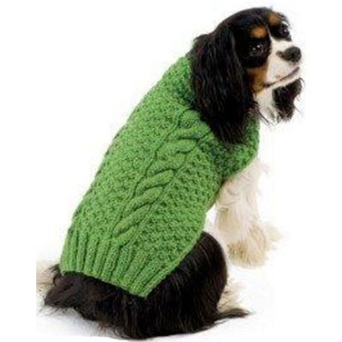 Cable Knit Dog Sweater | Green
