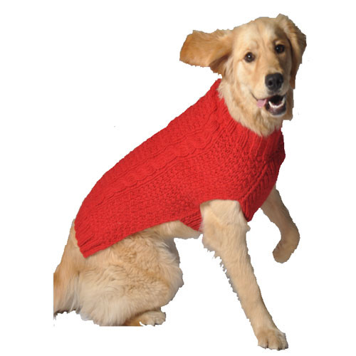 Cable Knit Dog Sweater | Red