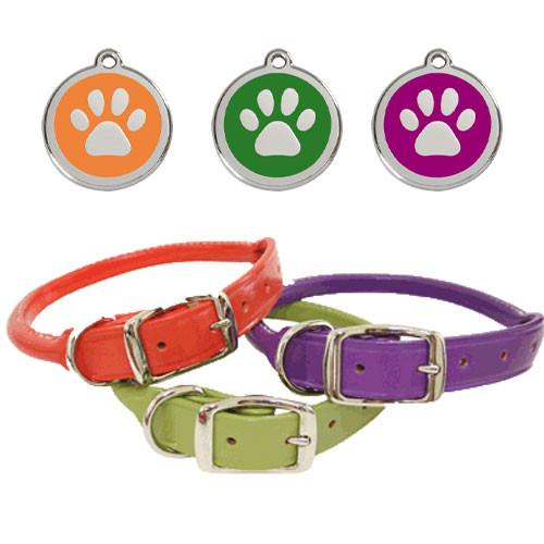 Leather Dog Collar & ID Tag Set