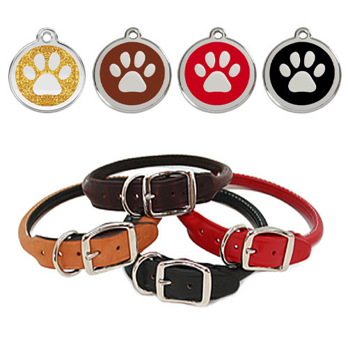 Leather Dog Collar & ID Tag Set | Winter