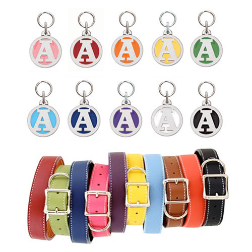 Leather Dog Collar & Initial ID Tag Collection
