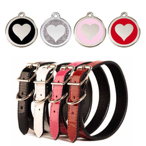 Patent Leather Dog Collar & ID Tag Set