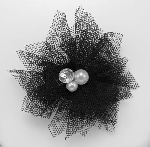 Tulle & Gem Veil Hair Clip | Black