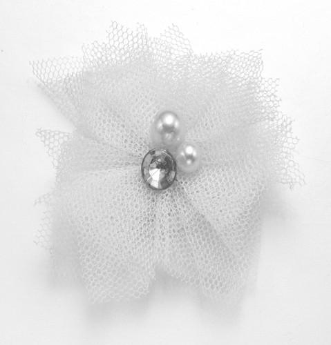 Tulle & Gem Veil Hair Clip  | White