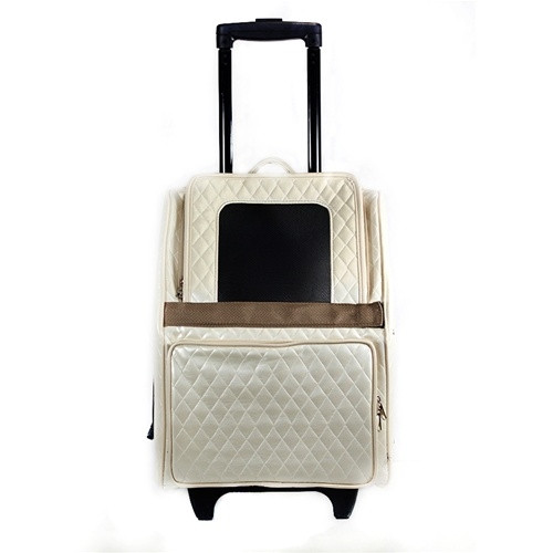 Quilted Lux Roller Pet Carrier | Ivory