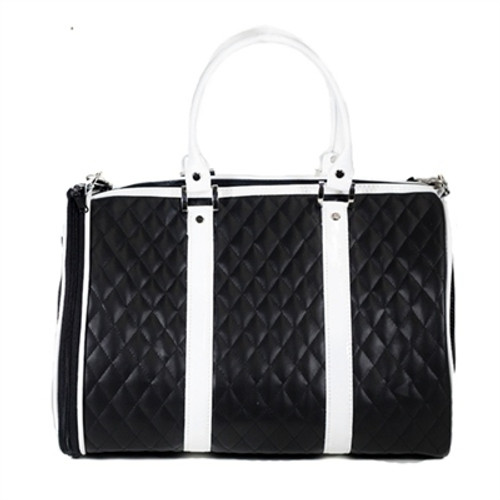 Quilted Duffel Pet Carrier | Black & White