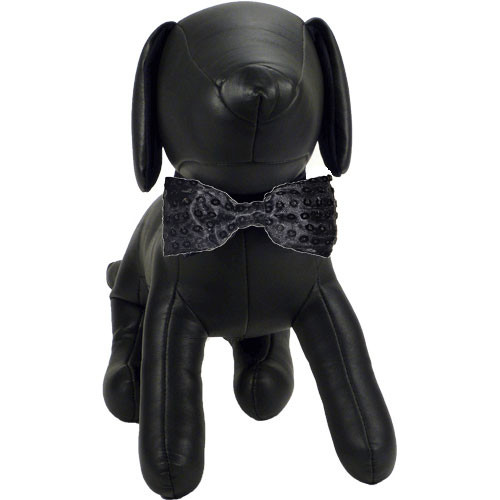 Black Sequin Dog Bow Tie | Frank