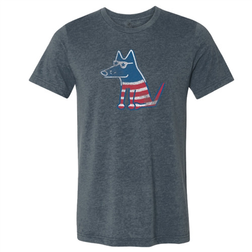 Patriotic Teddy Light Weight Heather Navy T-Shirt