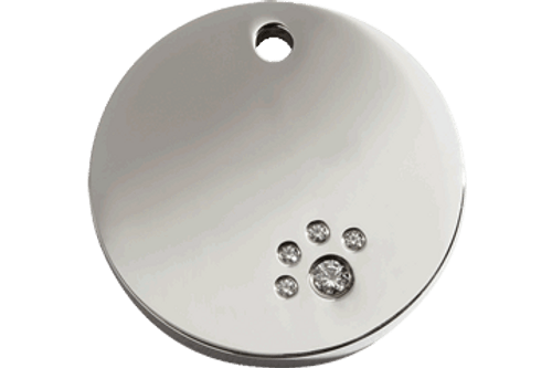 Diamonte Polished Stainless Steel Dog Tag | Circle