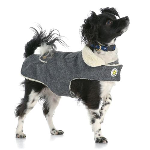 Grey Wool Dog Coat