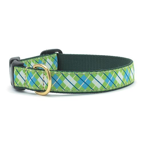 Blue & Green Argyle Dot Dog Collar