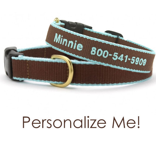 Bamboo Dog Collar | Brown & Aqua