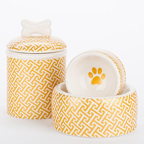 Gold Trellis Bowl + Treat Jar Set