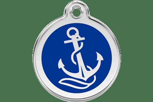 Enamel Dog ID Tag | Dark Blue Anchor