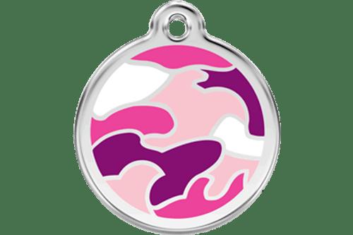 Enamel Dog ID Tag | Camo Pink