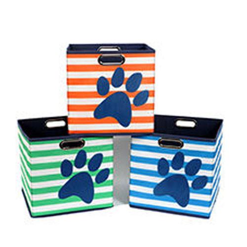 Pawprint & Stripe Dog Toy Storage Bin