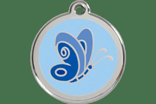 Enamel Dog ID Tag | Butterfly Blue