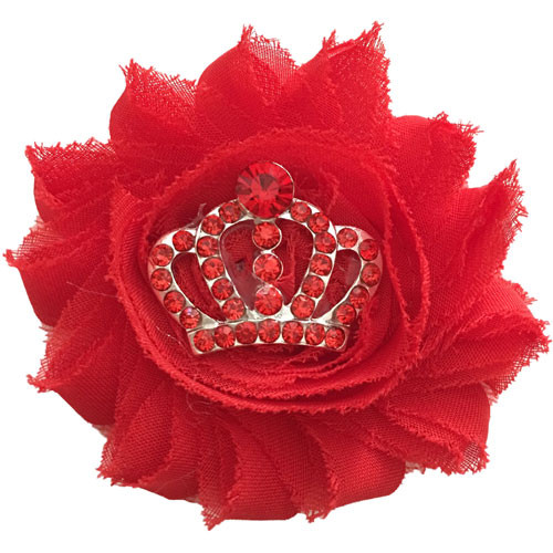 Shabby Crown Collar Bud | Red