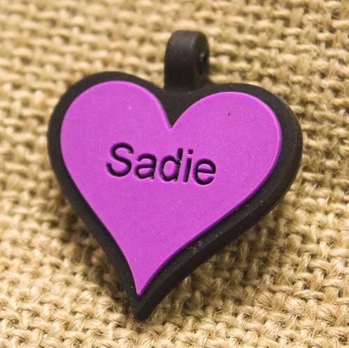 Silent Dog ID Tag   Heart Purple