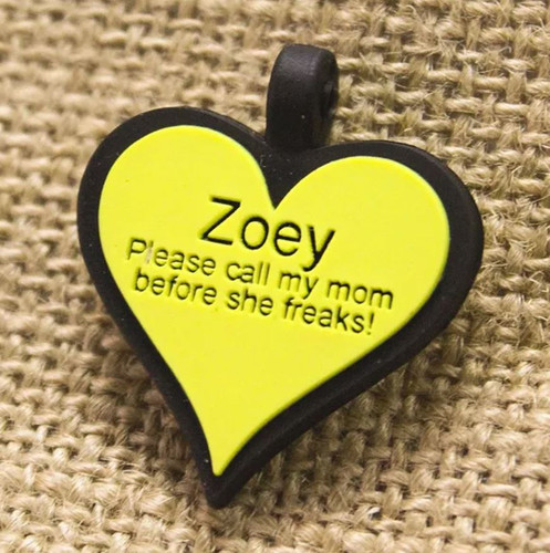 Silent Dog ID Tag | Heart Yellow