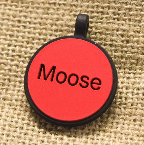 Silent Dog ID Tag | Circle Red