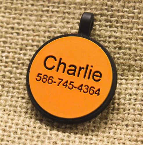 Silent Dog ID Tag | Circle Orange