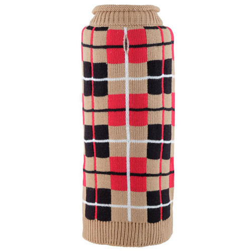 Worthy Dog Oxford Plaid Tan Roll Neck Dog Sweater