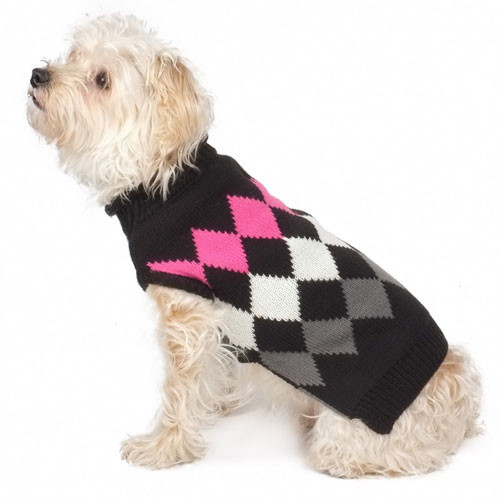 Worthy Dog Modern Argyle Roll Neck Dog Sweater | Black