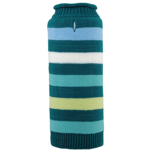 Worthy Dog Dapper Stripe Roll Neck Dog Sweater | Teal