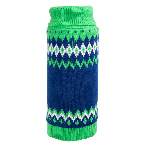 Worthy Dog Fairisle Turtleneck Dog Sweater | Green
