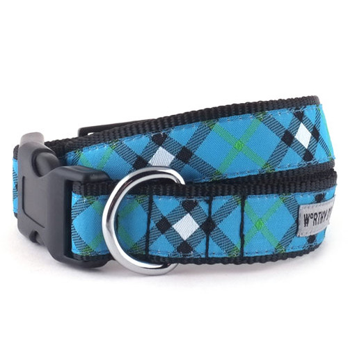 Bias Plaid Blue Dog Collar
