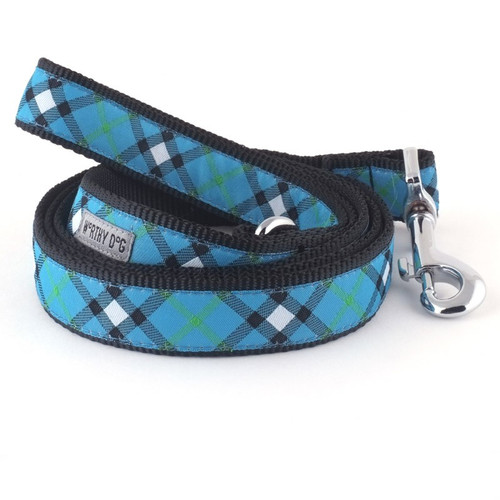 Bias Plaid Blue Dog Leash