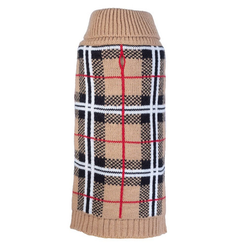 Worthy Dog Plaid Dog Sweater - Tan